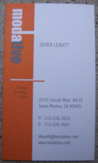 architects business card