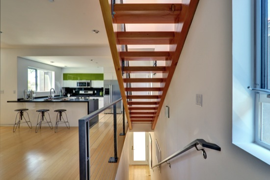 modern open wood stair residential