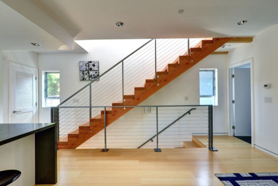 residential modern cable rail at stair