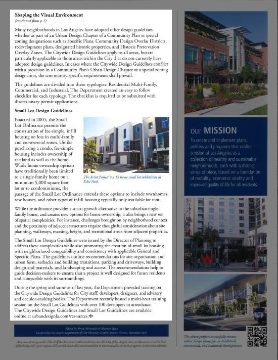 LA City Planning Newsletter Artis Modative