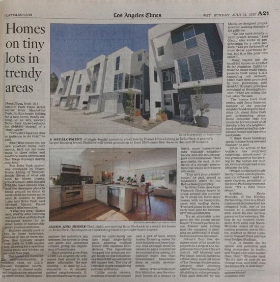 LA Times Small Lot Home Architects Modative