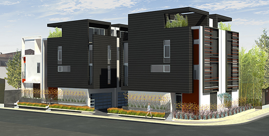 los angeles modern homes rendered view from corner of romaine and crescent heights - Modern Townhouse Architecture