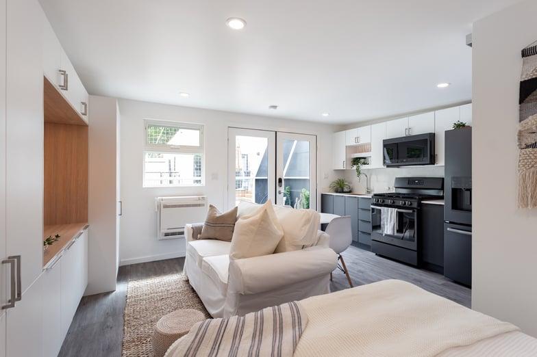 Garage Conversion ADU Studio Living Room