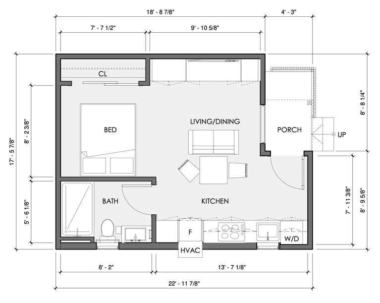 United Dwelling STUDIO ADU Floor Plan